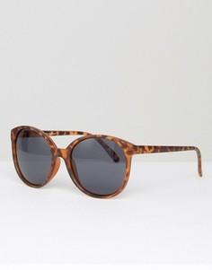 Круглые солнцезащитные очки в матовой черепаховой оправе ASOS - Коричневый