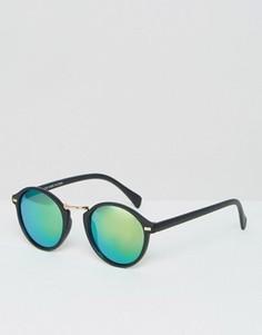 Круглые солнцезащитные очки в тонкой оправе ASOS - Черный