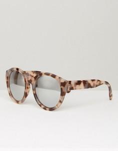 Круглые солнцезащитные очки в массивной черепаховой оправе с блестящими стеклами ASOS - Коричневый