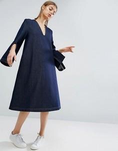 Джинсовое платье миди с разрезами на рукавах и квадратным вырезом ASOS WHITE - Синий