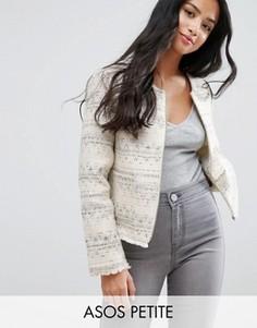Куртка букле с бахромой ASOS PETITE - Кремовый