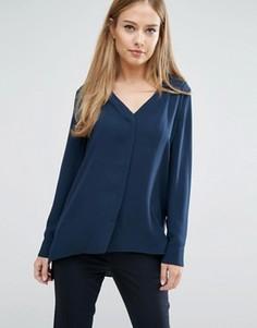 Рубашка с V-образным вырезом Selected - Темно-синий