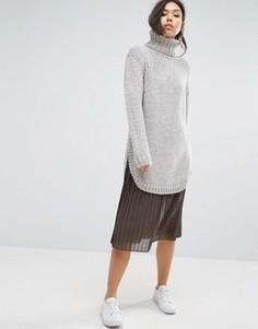 Плиссированная юбка миди Minimum - Серый