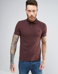 Бордовая обтягивающая футболка-поло из пике с логотипом ASOS - Красный