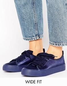 Атласные кроссовки для широкой стопы ASOS DARLING - Темно-синий