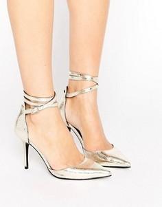 Туфли-лодочки с завязками на щиколотке ShoeLab - Золотой