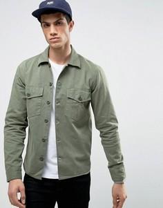 Рубашка навыпуск в стиле милитари с карманами на груди Jack & Jones Vintage - Зеленый