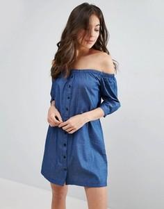Платье из шамбре на пуговицах с широким вырезом Influence - Синий