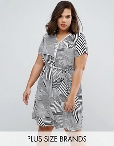 Платье в полоску с молнией спереди Koko Plus - Кремовый