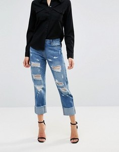 Рваные джинсы бойфренда с отворотами Parisian - Синий