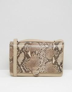 Кожаная сумка на плечо с эффектом змеиной кожи Modalu - Бежевый