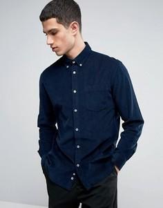 Узкая рубашка из мелкого вельвета с длинными рукавами Celio - Темно-синий