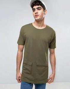Длинная футболка с карманами Bellfield - Зеленый