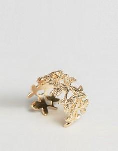 Кольцо с листиками Nylon - Золотой