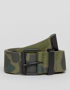 Камуфляжный ремень с черной пряжкой с покрытием ASOS - Зеленый