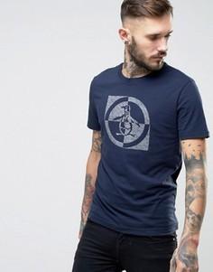 Темно-синяя узкая футболка с логотипом Original Penguin - Темно-синий