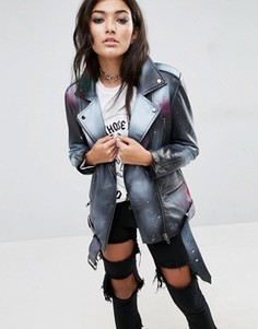 Кожаная куртка с напылением ASOS - Черный