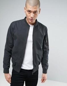 Окрашенная после пошива куртка-пилот в стиле милитари Brave Soul - Серый
