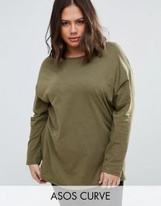 Oversize-футболка с длинными рукавами ASOS CURVE Ultimate - Зеленый