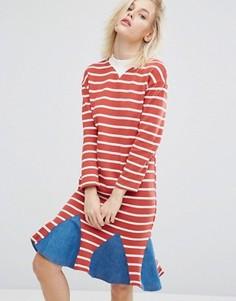 Платье в полоску с джинсовой вставкой по низу I Love Friday - Красный