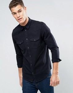Черная джинсовая рубашка классического кроя в стиле вестерн New Look - Черный