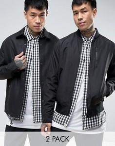 2 черные куртки (бомбер/спортивная куртка) ASOS - СКИДКА - Черный