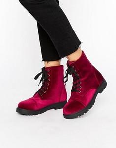 Бархатные походные ботинки Truffle - Красный