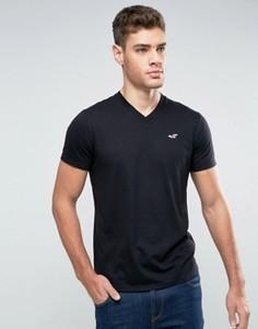 Черная футболка узкого кроя с логотипом и V-образным вырезом Hollister Must Have - Черный