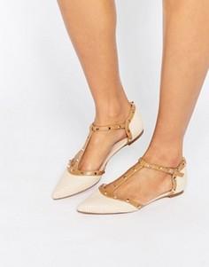 Туфли с острым носком и отделкой заклепками Dune Heti - Бежевый