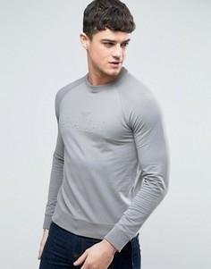 Серый свитшот классического кроя с круглым вырезом и тисненым логотипом Armani Jeans - Серый
