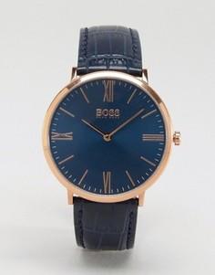 Темно-синие часы с кожаным ремешком BOSS By Hugo Boss Ultra Jackson - Синий