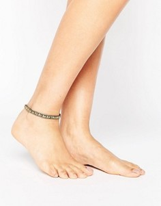 Золотистый браслет на ногу с бусинами ASOS - Золотой