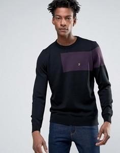 Черная трикотажная футболка слим из мериносовой шерсти Farah - Черный