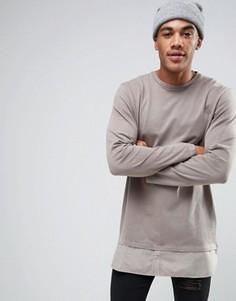 Длинный лонгслив с подолом в стиле рубашки ASOS - Серый