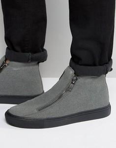 Серые ботинки из искусственной замши на молнии и толстой подошве ASOS - Серый