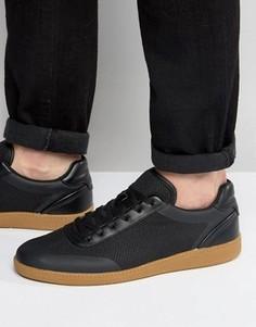 Черные сетчатые кроссовки на шнуровке с каучуковой подошвой ASOS - Черный