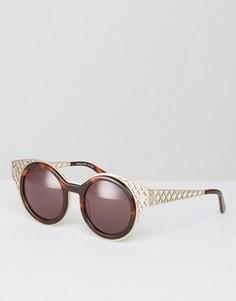 Круглые солнцезащитные очки с вырезами House of Holland - Коричневый