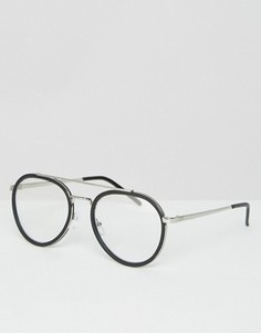 Круглые очки-авиаторы с прозрачными стеклами ASOS - Черный