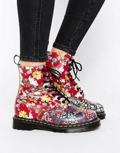 Ботинки с цветочной отделкой и 8 парой люверсов Dr Martens Pascal - Мульти