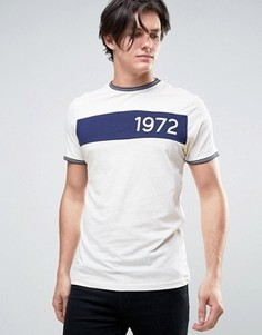 Меланжевая футболка с принтом в стиле ретро Brave Soul - Темно-синий