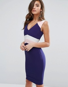 Платье-футляр в стиле колор блок Vesper - Темно-синий