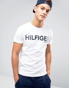 Белая футболка с крупным логотипом Hilfiger Denim - Белый