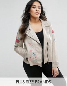 Куртка из искусственной кожи с цветочной вышивкой и заклепками Alice & You - Бежевый