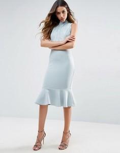 Платье миди с высокой горловиной и баской Club L - Белый