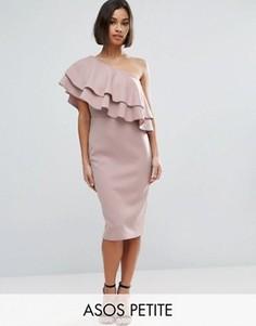 Облегающее платье миди на одно плечо с двойной оборкой ASOS PETITE - Коричневый