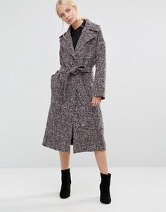 Серо-розовое пальто из твида Helene Berman - Мульти