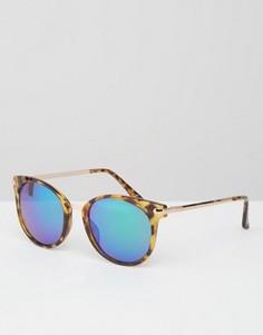 Круглые очки кошачий глаз с металлической переносицей и цветными стеклами ASOS - Коричневый
