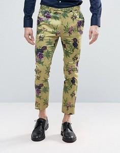 Супероблегающие строгие брюки с цветочным принтом ASOS - Зеленый