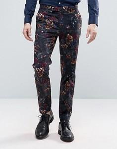 Темные строгие брюки скинни с цветочным принтом ASOS - Черный
