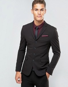 Черный супероблегающий пиджак на четырех пуговицах ASOS - Черный